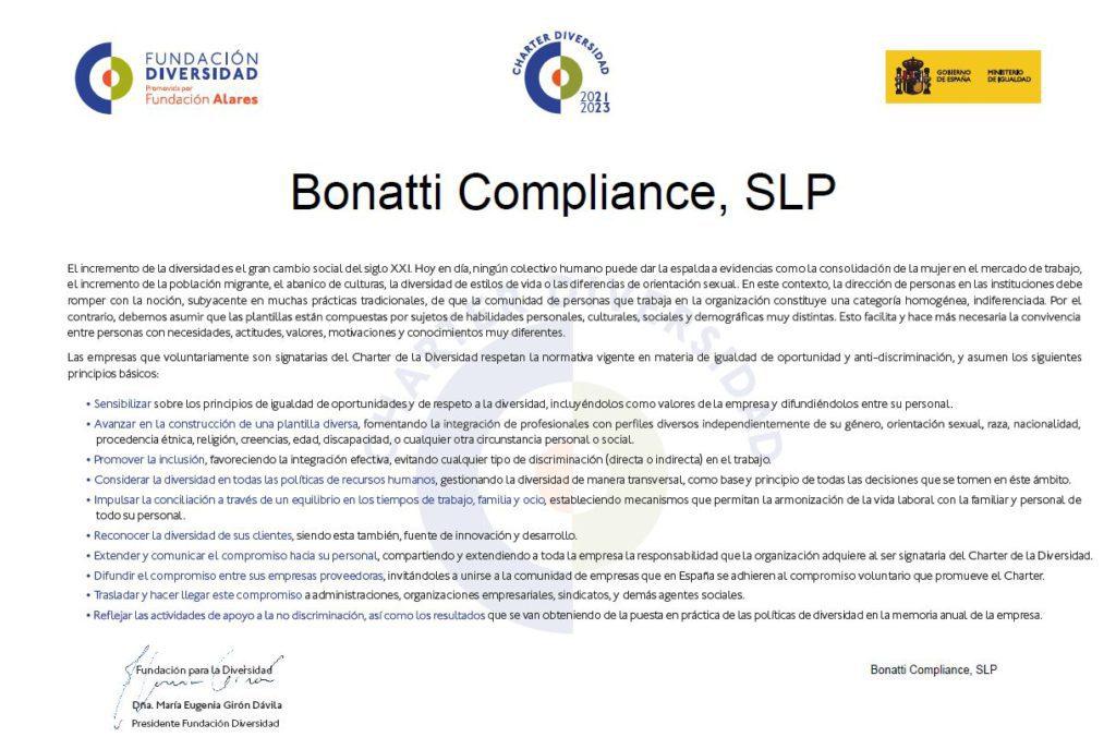 Documento de adhesión de Bonatti Compliance al Chárter de la Diversidad