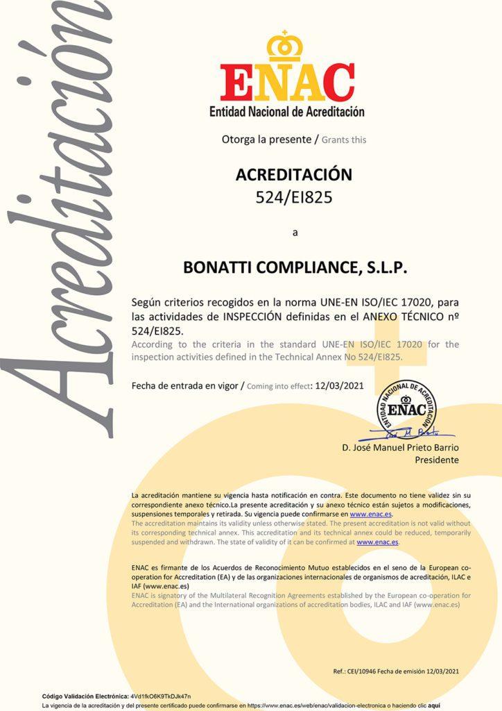 Acreditación ENAC a Bonatti Compliance-Experto Externo Blanqueo Capitales